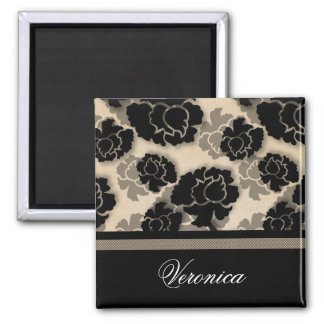 Grungy Floral Decadence Magnet, Ivory Beige