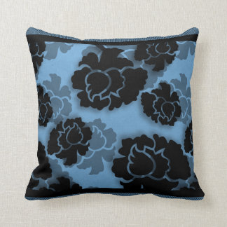 Grungy Floral Decadence Pillow, Blue Throw Pillow