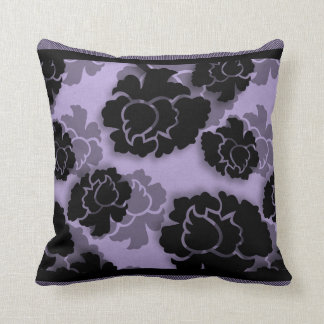 Grungy Floral Decadence Pillow, Lilac Throw Pillows