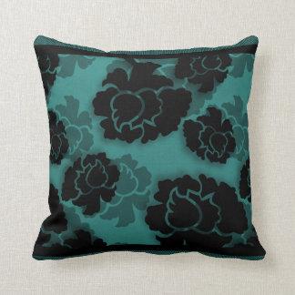 Grungy Floral Decadence Pillow, Teal Throw Pillow