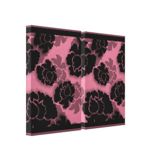 Grungy Floral Decadence Wrapped Canvas, Pink Stretched Canvas Prints