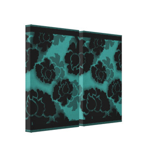Grungy Floral Decadence Wrapped Canvas, Teal Stretched Canvas Print