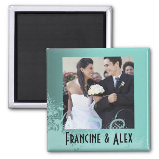 Grungy Floral Wedding 2 Inch Square Magnet
