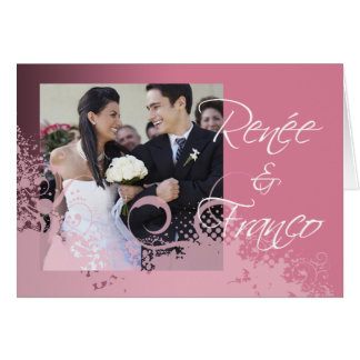 Grungy Floral Wedding Reception Photo Invitation
