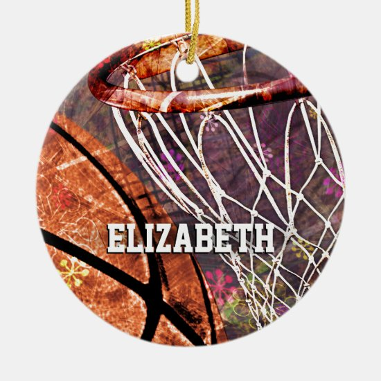 Grungy Girly Basketball and hoop her name Ceramic Ornament