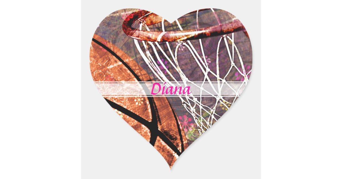 Grungy Girly Basketball Heart Sticker | Zazzle