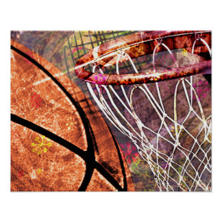 Grungy Girly Basketball Poster