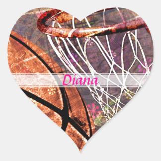 Grungy Girly Basketball Heart Stickers