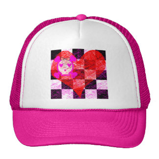 GRUNGY GIRLY SKULL HEART CHECKERS TRUCKER HAT
