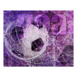 Grungy Girly Soccer Poster