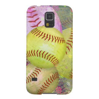 Grungy Girly Softball Galaxy S5 Case