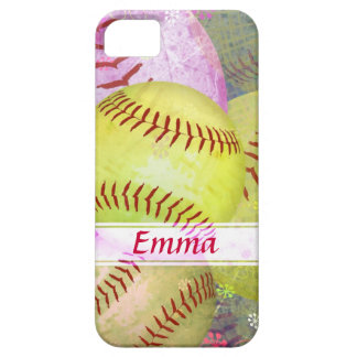 Grungy Girly Softball iPhone 5 Case