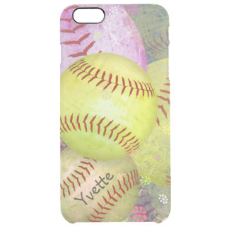 Grungy Girly Softball Clear iPhone 6 Plus Case