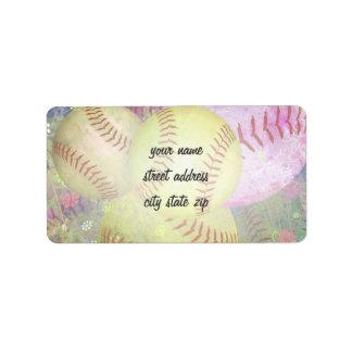 Grungy Girly Softball Address Label