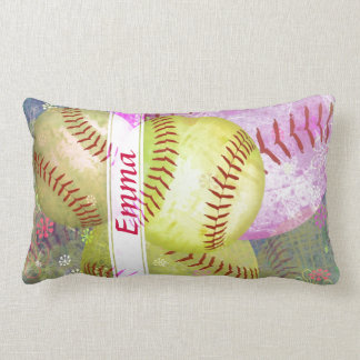 Grungy Girly Softball Throw Pillow