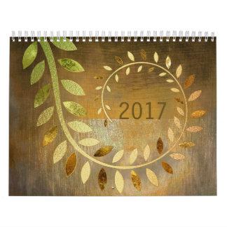 Grungy Gold Leafs Monochromatic Glam Calendar