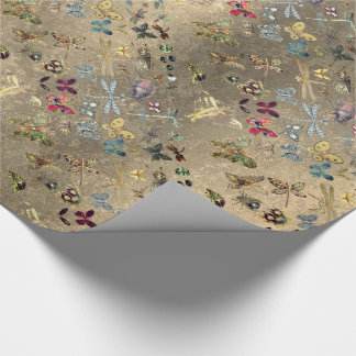 Grungy Gold Meadow Butterfly Insects Gems Diamond Wrapping Paper