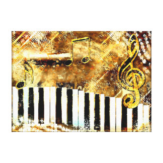 Grungy Gold piano music wrapped canvas Stretched Canvas Prints