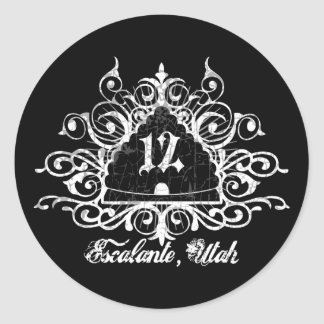 Grungy Graphic Hwy 12 Classic Round Sticker