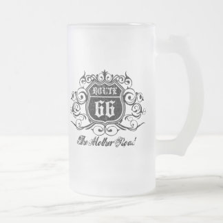 Grungy Graphic Rte. 66 Frosted Glass Beer Mug