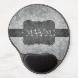 Grungy gray personalized monogram gel mouse pad