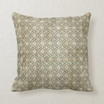 Grungy Green and Beige Pattern Throw Pillows