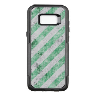 Grungy Green and Ivory Diagonal Stripes OtterBox Commuter Samsung Galaxy S8+ Case