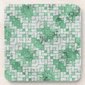 Grungy Green Angular Shapes Coaster