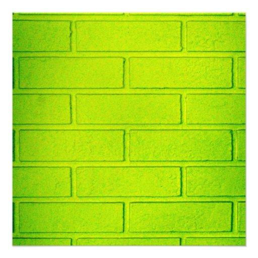 Grungy Green Brick Wall Personalized Invite
