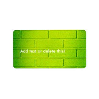 Grungy Green Brick Wall Labels