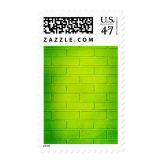 Grungy Green Brick Wall Postage