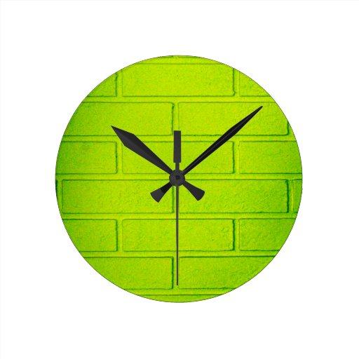 Grungy Green Brick Wall Round Wall Clocks Zazzle