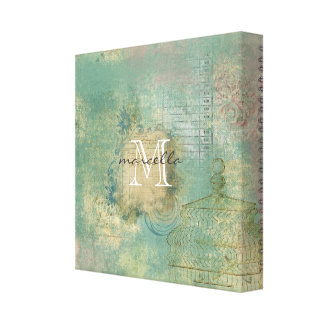 Grungy Green Collage style Monogram Stretched Canvas Print