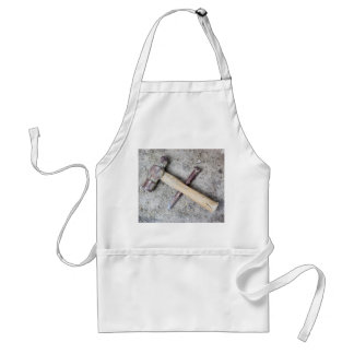 Grungy hammer and chisel adult apron