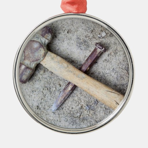 Grungy hammer and chisel christmas ornaments