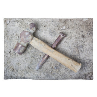 Grungy hammer and chisel placemat