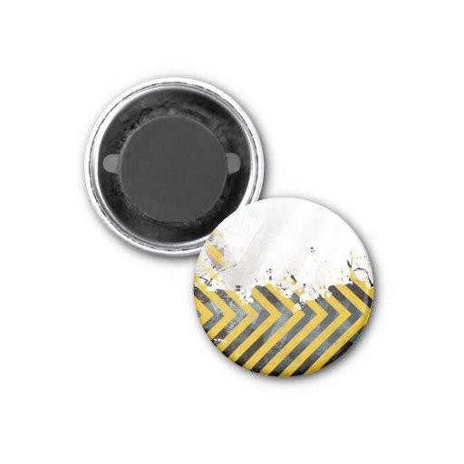 Grungy Hazard Stripes 1 Inch Round Magnet