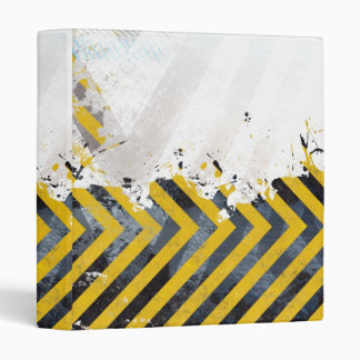 Grungy Hazard Stripes 3 Ring Binder