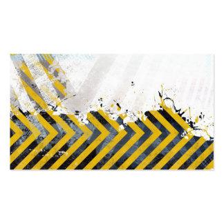 Grungy Hazard Stripes Business Cards