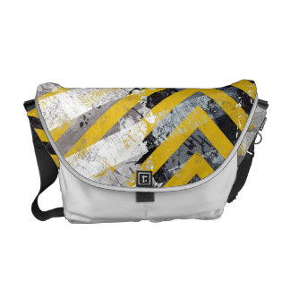 Grungy Hazard Stripes Courier Bags