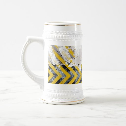 Grungy Hazard Stripes Mugs