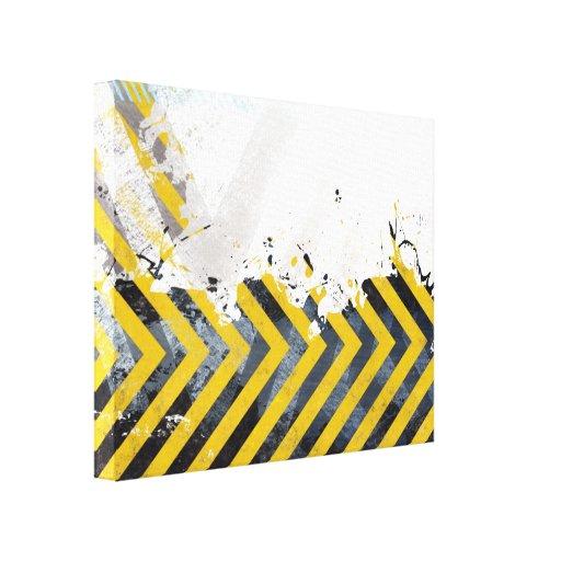 Grungy Hazard Stripes Stretched Canvas Print