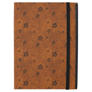 Grungy Hearts and Flowers Pattern on Dark Orange iPad Pro Case