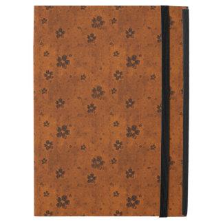 Grungy Hearts and Flowers Pattern on Dark Orange iPad Pro Case