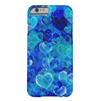 Grungy hearts in blue shades iPhone 6 case