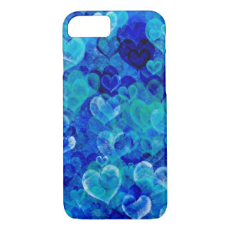 Grungy hearts in blue shades iPhone 7 case