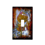 Grungy Humboldt Lily In the Sky Black Background Light Switch Plate