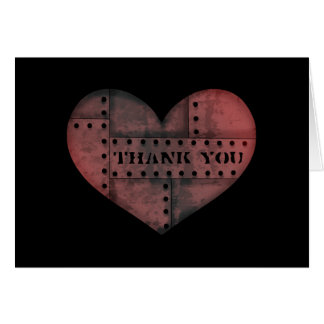 Grungy industrial punk heart thank you Valentine Greeting Card