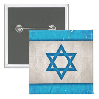 Grungy Israel Flag Star of David 2 Inch Square Button