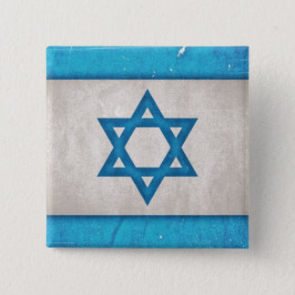 Grungy Israel Flag Star of David Button